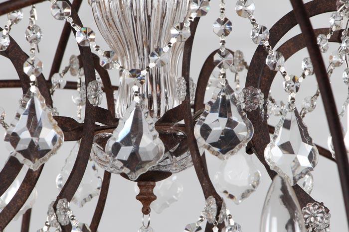 European vintage 6  lichter kristall kronleuchter, retro eisen ...