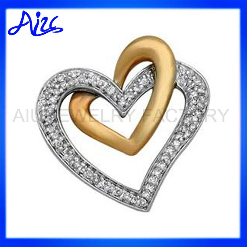 18k White Gold Plated Double Love Heart Symbol Pendant Buy Love