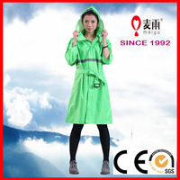 100% Polyester impermable safety rain poncho for women