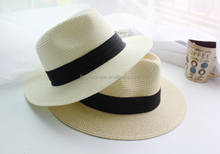Natural straw knit fedora hats for men