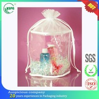 Snowflake cosmetic pvc drawstring organza bag