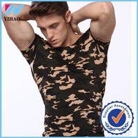 2015 Running t-shirt made basic elastic tight fitness men's short sleeve military tactical t-shirt outdoor sport camo clothing