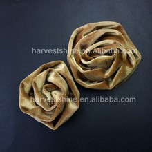 Large Gold Velvet Rose Flower,Dark Grey Winter Fabric Flower,Handmade Curly Rolled Rosette