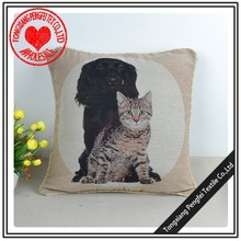 new black dog and white cat embroidered design heavy knitted cushion and pillow case