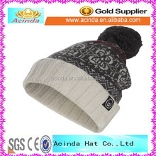 100% Acrylic embroidery knitted beanie hat with woven label wholesale
