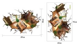 ALFOREVER 3D home decoration,pvc 3D house decals,pvc 3D sticker