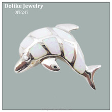 Fat Dolphin Pendant in White Opal Jewelry with Silver