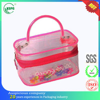 Promotional zipper top pink tote vinyl cosmetic bag
