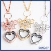 Best -Seller in Spain silver diamond jewellery metal heart hoop lariat styles camera locket pendant necklace
