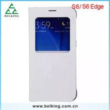 Screen Protector Window Case For Samsung S6 Edge, For Samsung S6 Edge Flip Open Screen Case