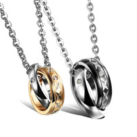 Black/Gold Circles Love Couple Pendant Necklace Stainless Steel Cubic Zirconia Statement Necklace Valentine's Day Jewelry,GX953