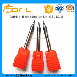 BFL HRC55 TiAlN Coating Solid Carbide R0.15 Micro Diameter Ball End Mill Cutting Tool