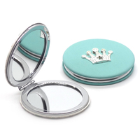 Customized crown PU compact mirror with magnet closure