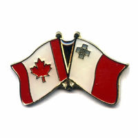 Custom metal badge lapel pins Canada and Malta national cross flag pin