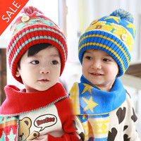 popular design kid LOVELY scarf + hat 6-48months toddlers acrylic and polyester cotton knitting yarn handmade neckerchief hat