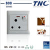 15A round pin socket with switch and neon