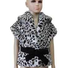 Wholesale Girl Leopard Faux Fur Coat Bowknot Belt