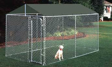 New Chain Link Dog Kennel Enclosure Pen 5'x 10' x 4' High Galvanized Steel Frame