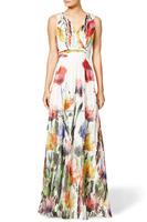 2015 Deep neck colorful printedA-line evening dresses sleeveless chiffon printed evening dresses