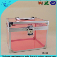 Wholesale plexiglass pmma metal Cosmetic makeup bag and case