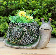 OEM Snail Style Indoor Flower Pot Poly Resin 9.9""