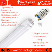 led t8 8ft 40W,2400mm t8 8ft tube, 8ft t8 light with 3 years warranty by CE RoHS approved