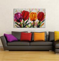 Handmade Custom Abstract Daisies Flower on Vase Oil Painting for Glass