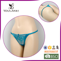 bow blue sex OEM service new design ladies' sexy fancy panty thong