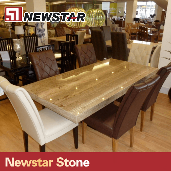 Newstar Hot Sale Polished Manufacturer Travertine Marble Dining Table Buy T
