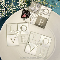 Factory Ture Price Wedding Favor Mirrored Glass Coasters with Love Design