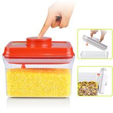 1000 ml rectángulo tapa roja con colgante fácil apertura y bloqueo hermético de plástico contenedor de almacenamiento de alimentos