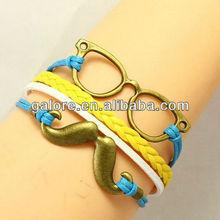 new gold custom mustache sunglass handmade bracelet