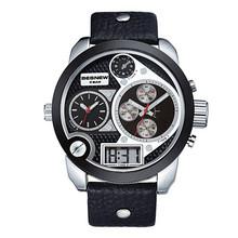2015 trending hot products wholesale pu leather band 3movement japan movt quartz besnew custom logo men sport watch