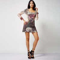 OEM Modern design printing urban street casual lady tunic dress with long slevees