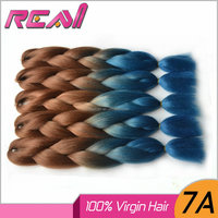 24Inch 100Grams/Pack Ombre Two Tone Coloured Brown/Light Blue 100% Kanekalon Jumbo Braiding Hair