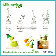 Food grade yellow silicone pear shaped herbal tea infuser
