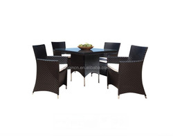 2016 UK style rattan dinner table set with striped weave matching high back armchair and square catering table