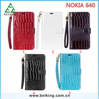 Fashion Women Leather Handbag Wallet For Nokia 640 Leather Crocodile Flip Case