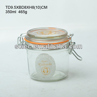 350ML 12oz food glass storage jar with seal lids and stainless metal clip