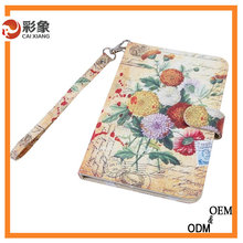 New Design Flower Pattern 3-folding Leather Case For iPad Air 2