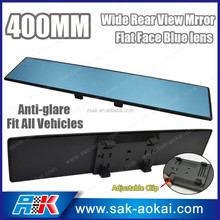 Blue Glass 400mm Wide Flat Clip On Rear View Mirror w/Anti-Glare Blue Tint