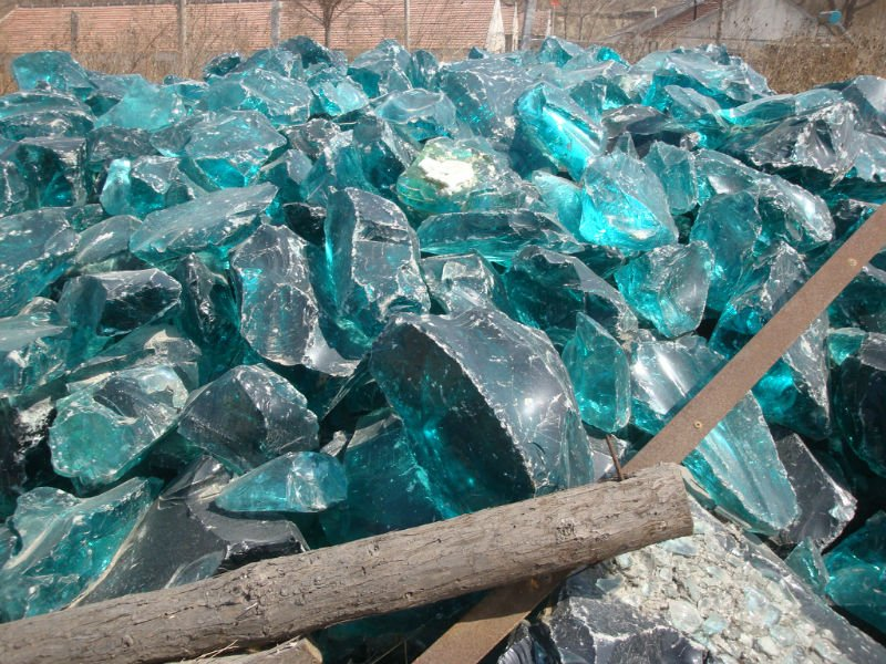 Landscaping decoration glass rock for gabion buy glass for Large garden rocks for sale