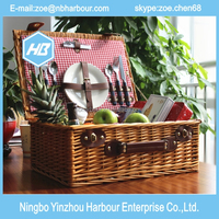 wicker picnic basket for 4 person, wicker basket, camping picnic basket