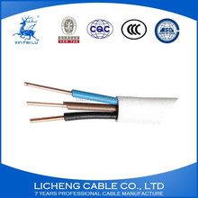 PVC Insulated and PVC Sheath 3 Core Flat Cable solid electric wire BVVB 3x1.5 mm2
