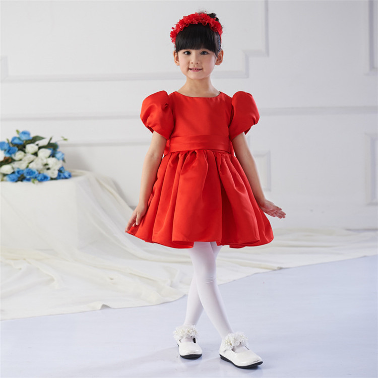 Red christmas party dress simple design top quality girls christmas