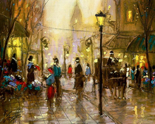 abstract street with light oil painting on canvas new design