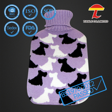 500ml rubber hot water bag with butterfly knitted cover with scarf