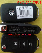 VW 3 button remote key Model Number is 5KO-959-753-N 434MHZ