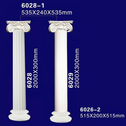 exterior decorative plastic hollow polyurethane lighted roman column