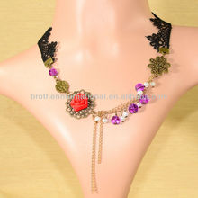 New Gothic Lace Necklace With Red flower Vintage lace Collar Wholesale